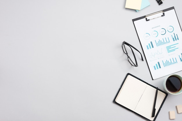 Office desktop with a notebook Free Photo