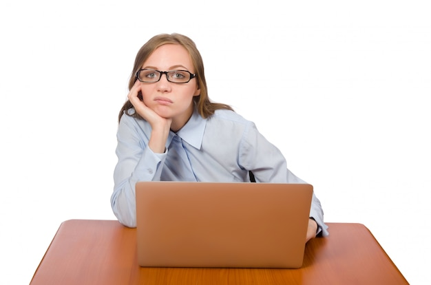 Office employee at work table with laptop isolated Premium Photo
