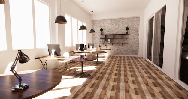 Premium Photo Office Interior With A Row Under Large Windows Massive Ceiling Lamps 3d Rendering