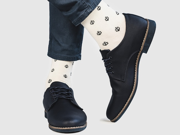 Office manager, stylish shoes and bright socks Premium Photo