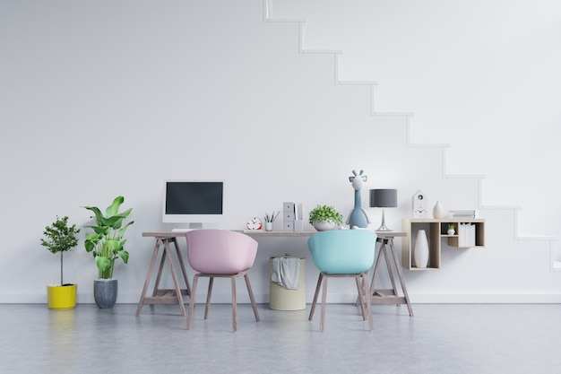 Office room with a pastel background. Premium Photo