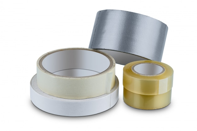 Office stationary roll of glue tape, masking tape, double-sided adhesive Premium Photo