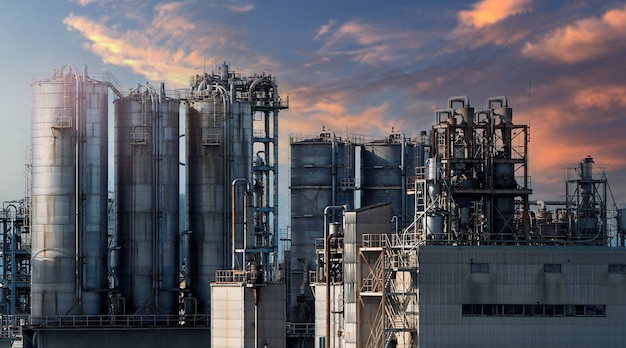 Oil and gas petrochemical industrial. oil refinery petrochemical plant factory from osaka chemical