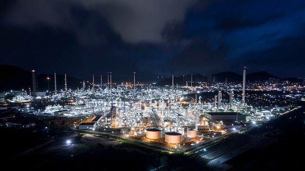 Oil and gas tanker with pipeline stainless in refinery zone factory thailand Premium Photo