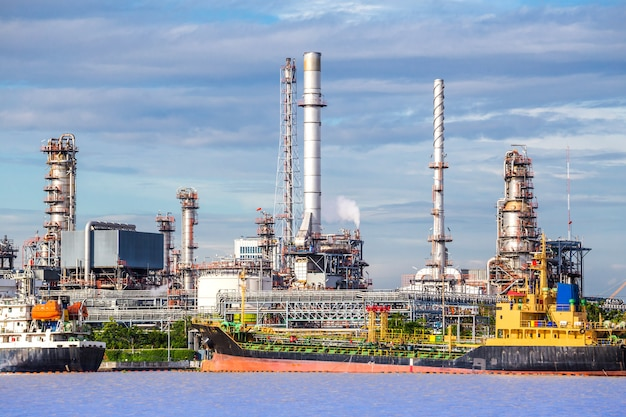 Oil industry refinery factory , petroleum, petrochemical plant. Premium Photo