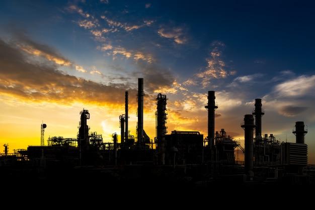 Oil refinery on sunset Premium Photo