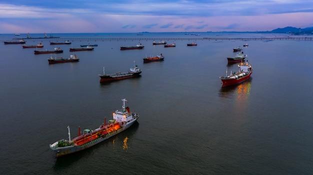 Oil tanker ship and lpg tanker ship. Premium Photo