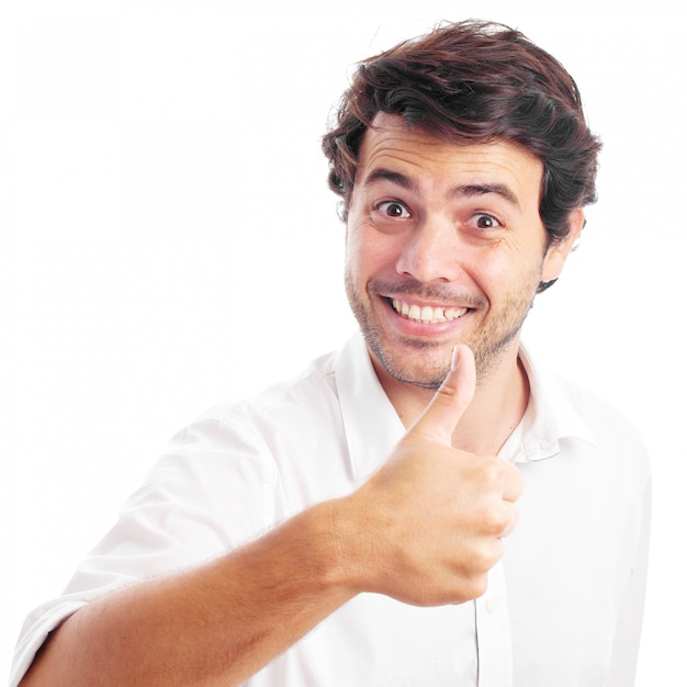 白い背景の上の男[ok]ジェスチャー Premium写真