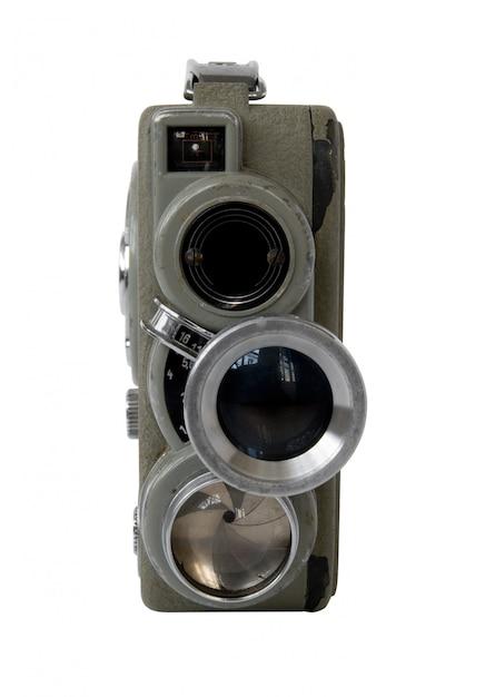 Old 8mm movie camera on white background Premium Photo