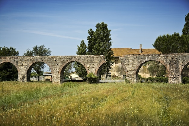 Old arch bridge on a grass field with trees and a building Free Photo