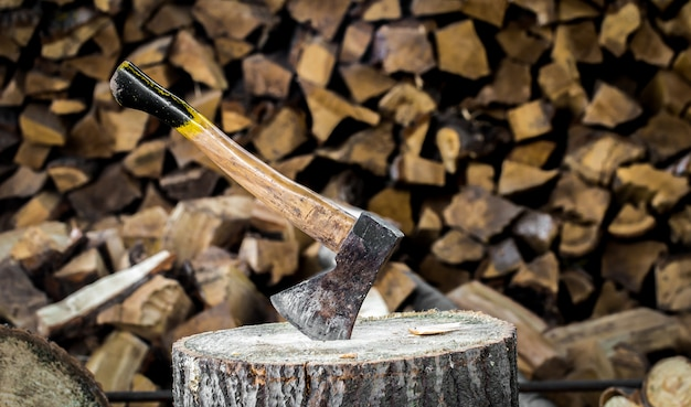 The old axe stuck in a stump Premium Photo