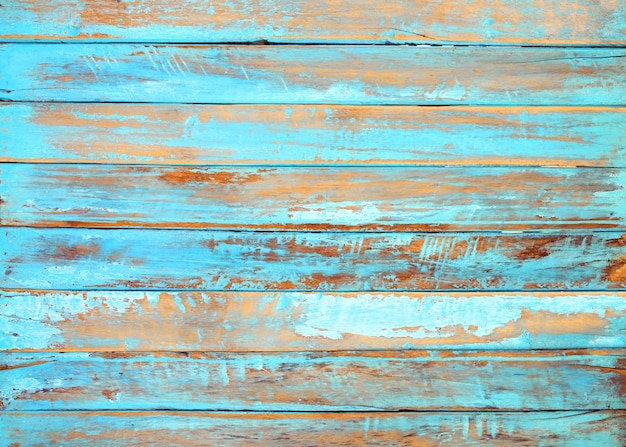 Old beach wood background - vintage blue color wooden plank Premium Photo