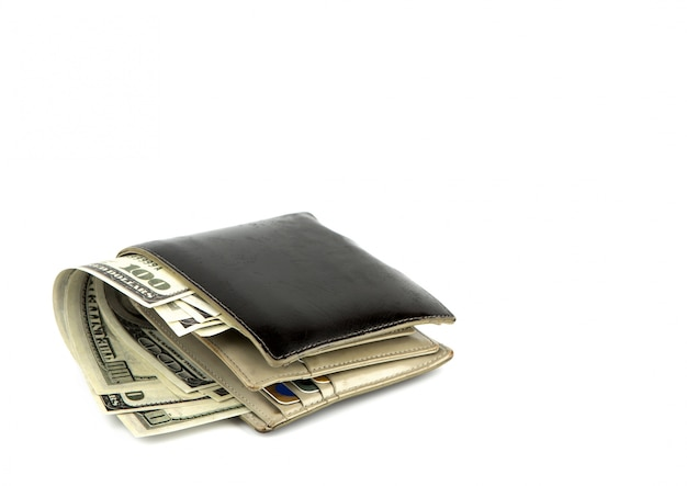Old black wallet with dollar  isolated on white background Free Photo