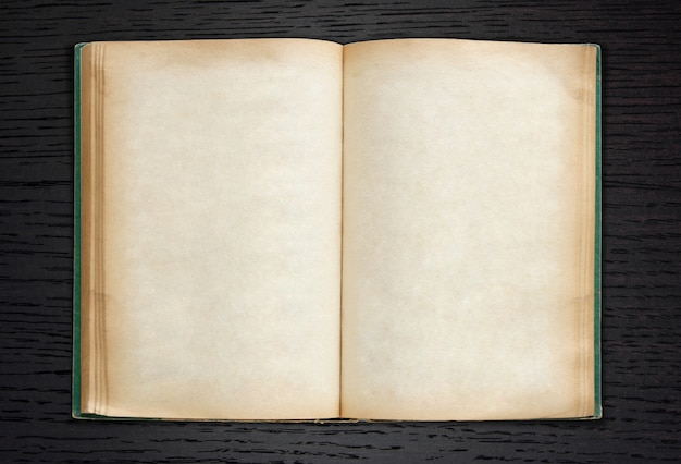 old book open on dark wood background Free Photo