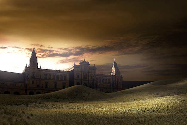 Old building with dusk view background Premium Photo