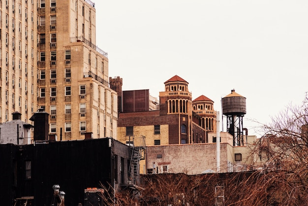 Old buildings and water tower Free Photo