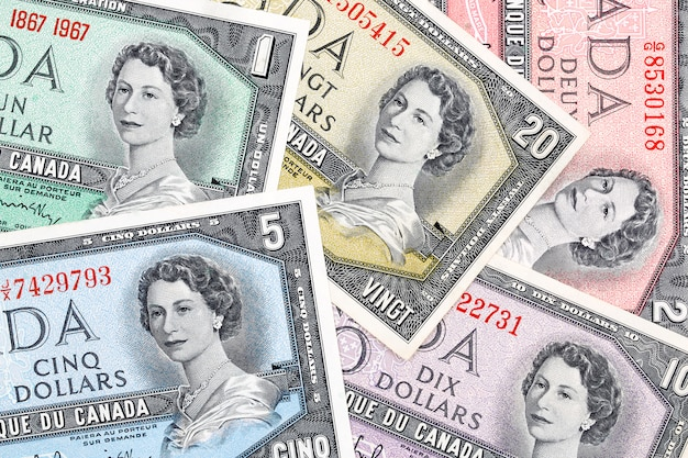 Old canadian dollars, a business, background Premium Photo