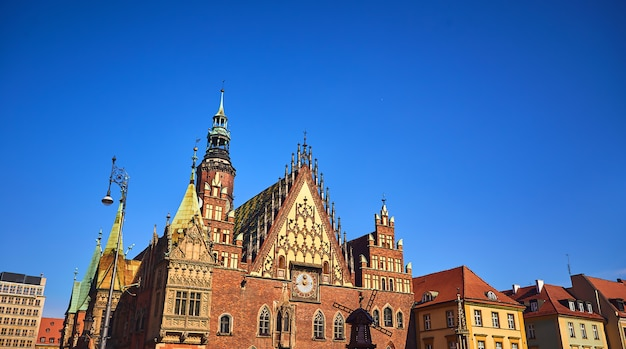 Old city hall on the market square in wroclaw, poland Premium Photo