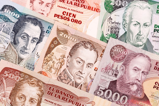 Old colombian peso, a background Premium Photo