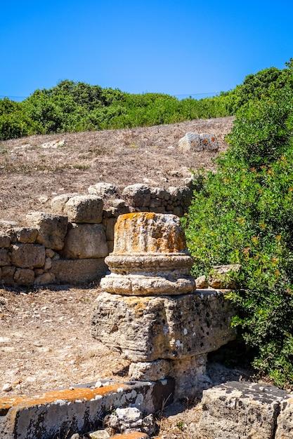 Старая колонна в археологических раскопках tharros, сардиния Premium Фотографии