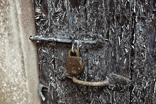Old door with paint peelings and lock Free Photo