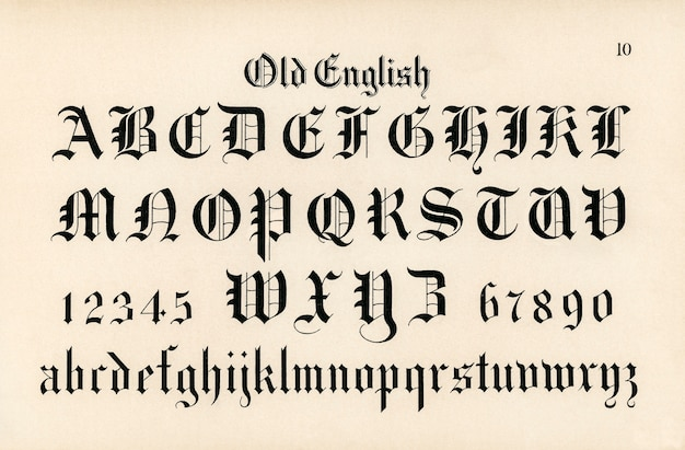 Old english calligraphy fonts from draughtsman's alphabets by hermann esser Free Photo