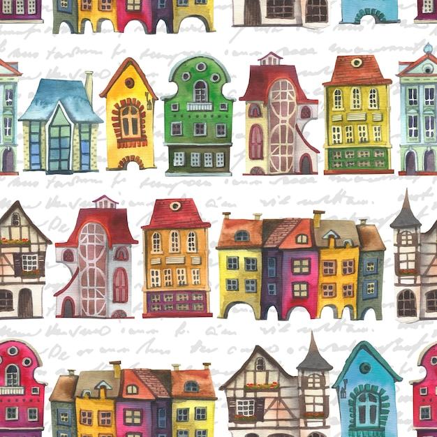 Old europe houses seamless pattern. Premium Photo