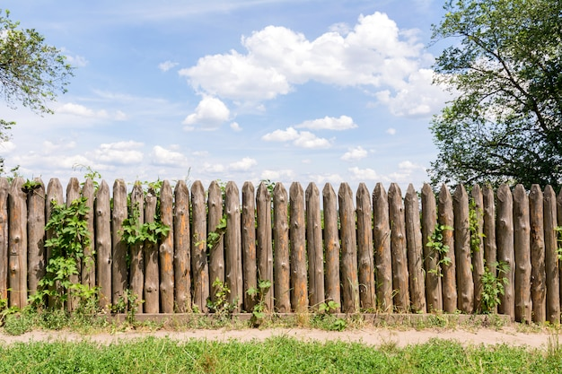 Old fence of logs. Premium Photo
