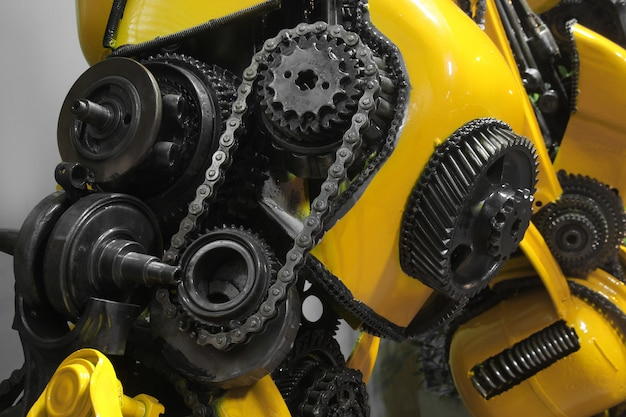 Old gear and chain, machinery part Premium Photo