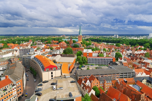 Old german town of lubeck. old historic city in germany. panorama of small town. Premium Photo
