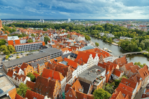 Old german town of lubeck on river trave. Premium Photo
