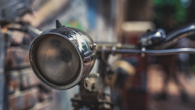 Old headlamp bicycle Premium Photo