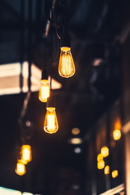 Old light bulb cafe decoration  interior lighting vintage retro style with film gain and noise texture Premium Photo