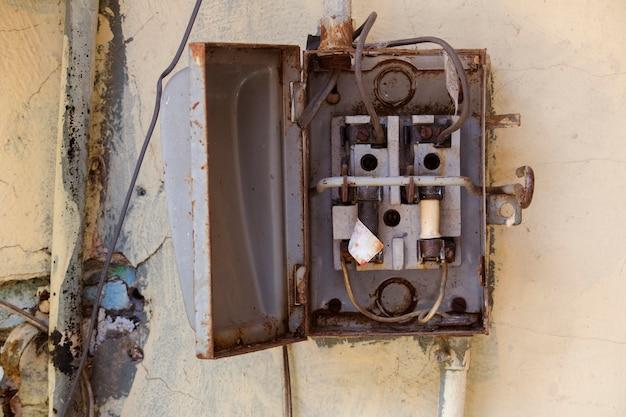 old metal open fuse box photo premium download. Black Bedroom Furniture Sets. Home Design Ideas