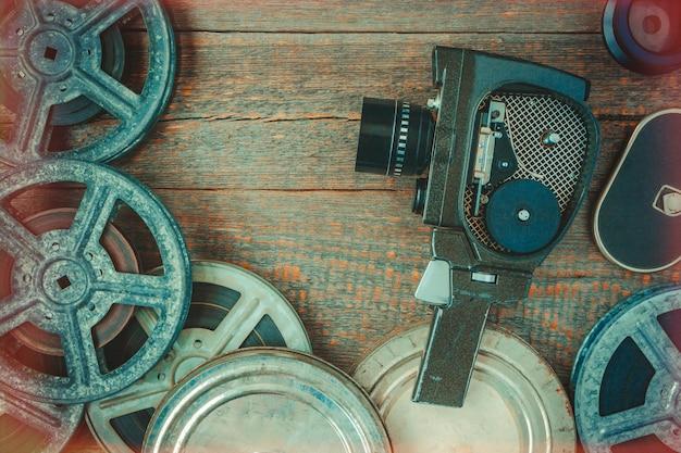Old movie camera and film reel Premium Photo