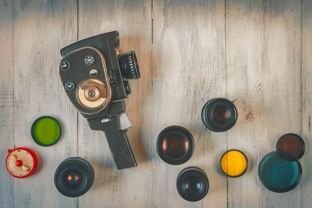 Old movie camera with lens Premium Photo