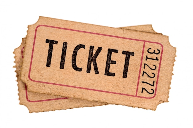 Старые билеты в кино на белом фоне Premium Фотографии