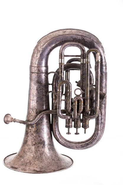 Old musical wind instrument isolated on white background Premium Photo