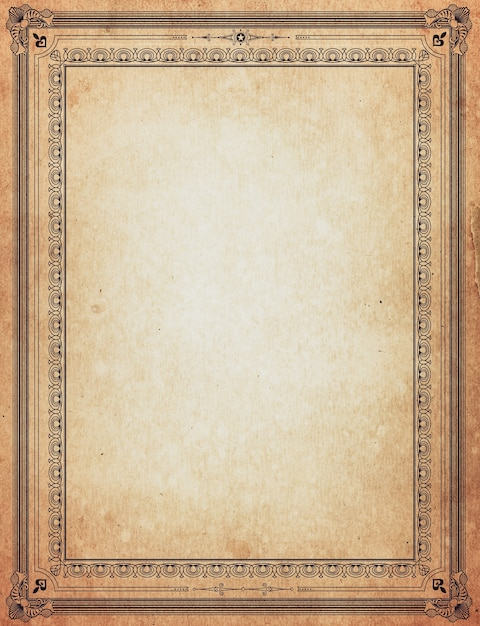 Old paper with patterned vintage frame - blank for your design Photo ...