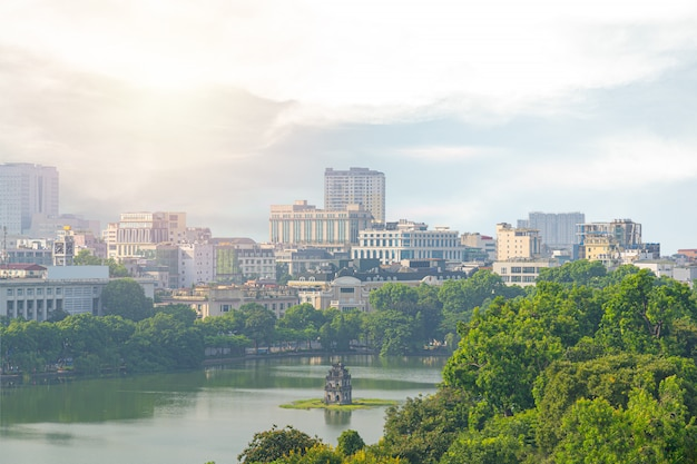 Old quarter, hanoi/vietnam landmark in city and top view of the huc bridge Premium Photo