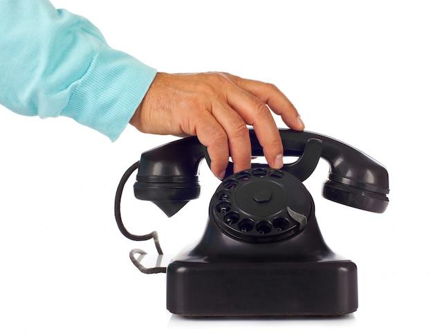 Old retro bakelite telephone Premium Photo