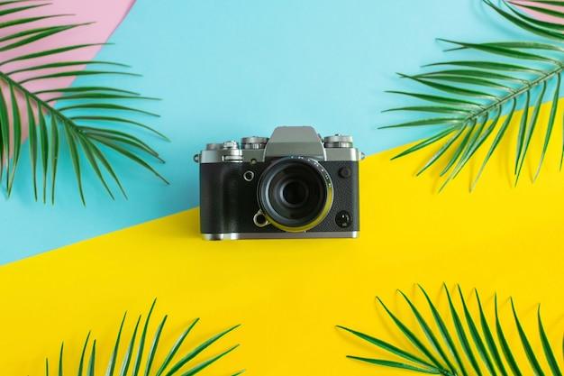 古いレトロなカメラとヤシの葉の色の背景に。最小限のフラットレイアウトスタイルの構成を入札します。夏のコンセプトです。 Premium写真