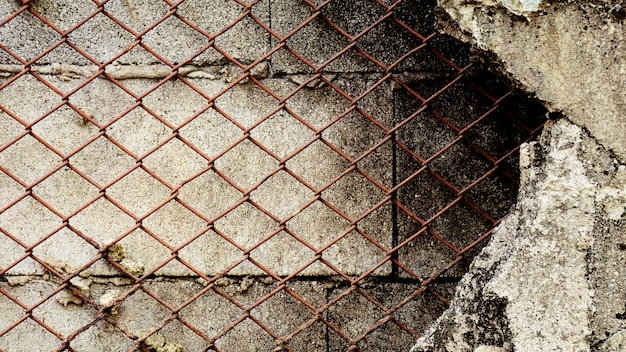 Old rusty cage at the damage concrete wall. Premium Photo