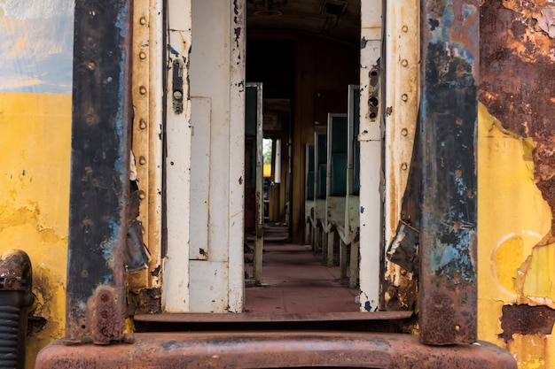 Old rusty thai railway train entrance Premium Photo