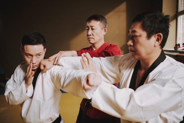 Старый сенсей учил двух студентов боевым искусствам сражаться. Premium Фотографии