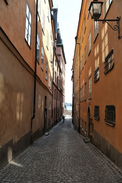 Old street in the old city in stockholm Premium Photo