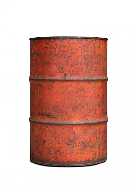 Old tank contain fuel on white background clipping path Premium Photo
