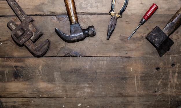 Old tools top view Free Photo