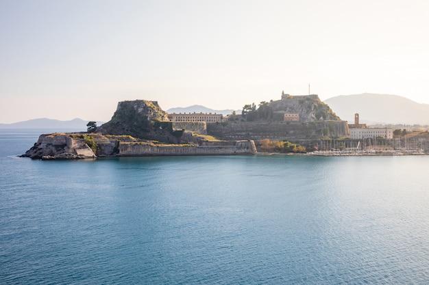 Old venetian fortress at corfu, ionian islands, greece Premium Photo