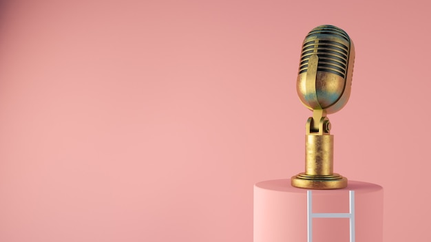 Old vintage microphone with ladder concept 3d rendering Premium Photo